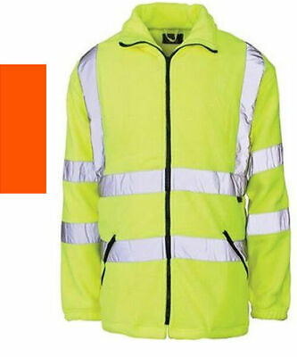 Hi Visibility Fleece Jacket Reflective Coat Yellow or Orange Class3 HiViz Fleece