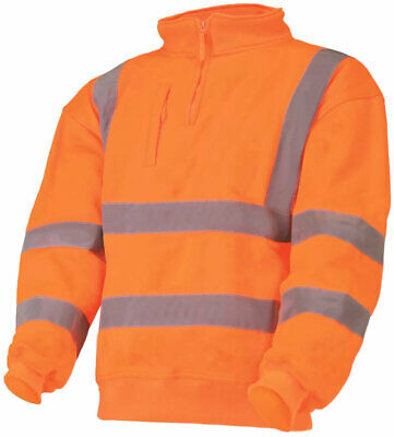 Orange Hi Visibility Sweatshirt Class 3 Zip Collar Hi Viz Sweat Shirt EN471