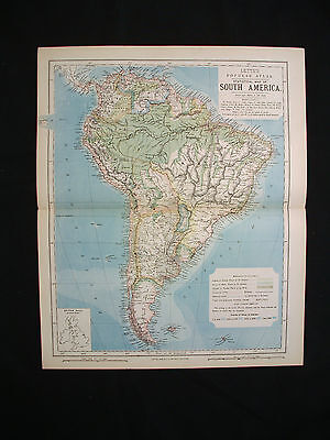 1883 LETTS - rare Statistical Map of South America, Bolivia, Brazil, Argentina