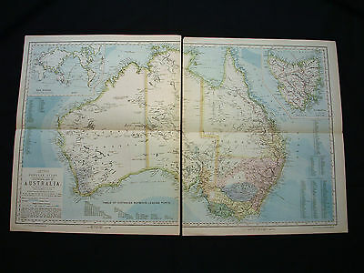 "1883 LETTS - rare Map of Australia, Tasmania, Papua in 2 sheets:...Inch 29""x18"""