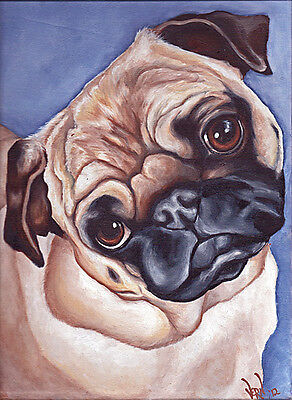 FAWN PUG Sleeping on Quilt 8x10 Dog Art PRINT of Original Oil Painting by VERN