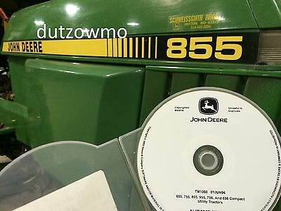 John Deere 855 and 955 compact tractor technical service tech manual CD TM1360