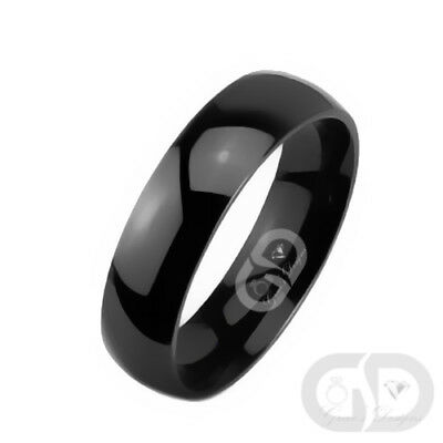 Black Titanium Wedding Band 6mm Half Round Comfort Fit Classic Traditional Ring
