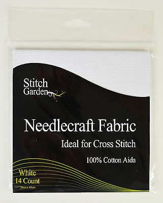 Stitch Garden 30cm x 45cm Needlecraft Fabric - 14 Count Cotton Aida - White