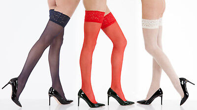 New Silky Lace Top Hold Ups ~ Glamour Shine Stockings ~ Medium ~ Large ~ XL