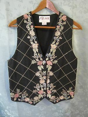 VTG 90's Asapo Collection Vest Size Small Floral Print & Plaid Waistcoat