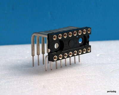 20 Pcs 16 Pin Dip Sockets Right Angle Mountingt A-16-Led/H Assmann  For Ic Gold