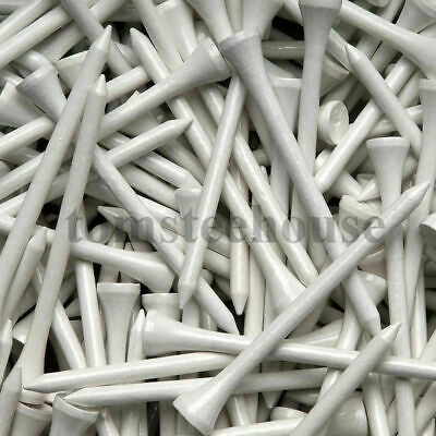 1000 WHITE WOOD / WOODEN GOLF TEES (83mm Large) + Free Golf Ball Markers