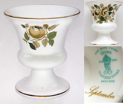 """Crown Staffordshire """"September"""" Spill/Posy Urn-Shaped Vase 3½"""" Tall"""