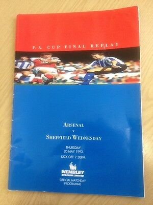 FA CUP FINAL 1993 REPLAY: Arsenal v Sheffield Wednesday Rare Programme