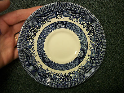 SET OF FOUR VINTAGE BLUE WILLOW  SAUCERS