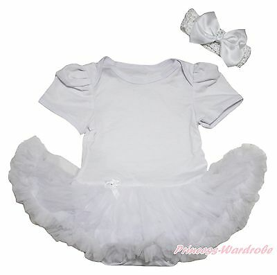 Infant Pure White Romper Jumpsuit Baby Girl Dress with Pure White Skirt NB-12M