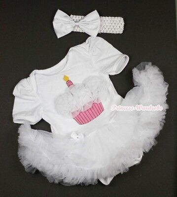 Infant Pure White Jumpsuit White Birthday Cupcake & White Baby Girl Dress NB-12M