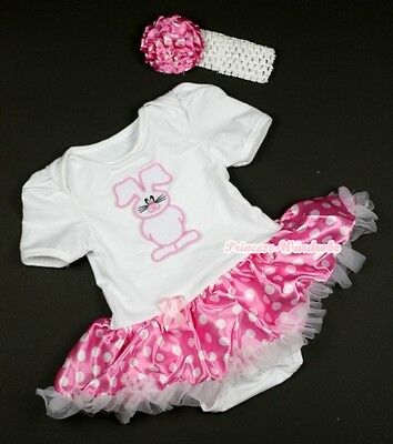 Pure White Jumpsuit EASTER Bunny Rabbit & Hot Pink White Dots Baby Dress NB-12M