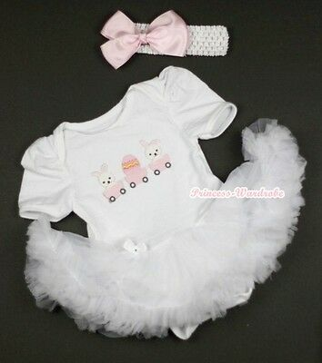 EASTER Pure White Jumpsuit Rabbit EGG with White Baby Girl Dress NB-12Month
