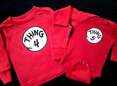 Thing 1 THING 2 3 etc LONG SLEEVE T SHIRT BODYSUIT INFANT TODDLER YOUTH ADULT