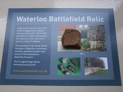 Waterloo battlefield relic large piece of Hougoumont wall with certificate