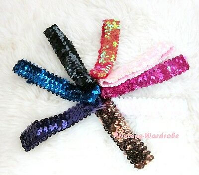 "1.5"" Optional Glitter Sequin Headband Hair Band Girl Accessory for Pettiskirt"