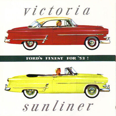 1953 Ford Victoria /& Sunliner Foldout Sales Brochure 53