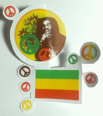 LOT OF 9 pcs 1 FLAG/7 PEACE SIGNS/1 PHOTO BOB MARLEY CLEAR SEE THROUGH STICKER