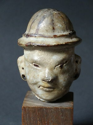 Old Celadon Stoneware Figure Head Of Chinese Southern Song Dynasty-13Th Cent