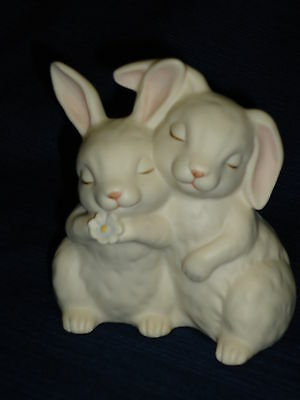 "Adorable 4.25"" HOMCO ""He Loves Me"" BUNNY RABBITS FIGURINE"