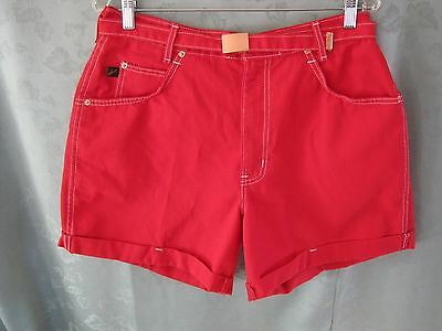 VTG NWT 80's Chic Red Shorts Size 16 Relaxed High Waisted Matching Belt