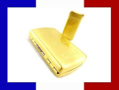 Coffret Briquet A Gaz Rechargeable Immitation Lingot D'or + Etui A Cigarette