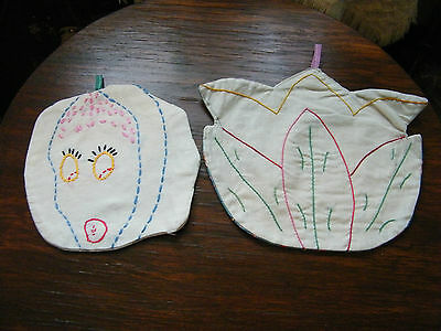 Collectible Handmade Embroidered Pot Holder Set 2 Vegetables 9 & 6.5 Inch NICE