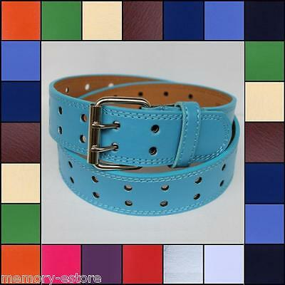 New Plain Solid 2 Double Row Holes Leather Belt Silver Buckle Unisex Mens Womens