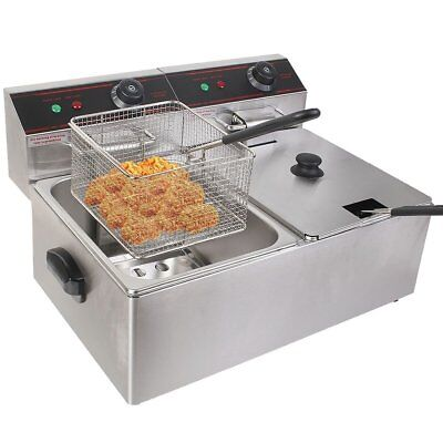 Electric Countertop Deep Fryer Dual Tank Commercial Restaurant 5000W 12L