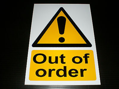Out Of Order Plastic Sign Or Self-Adhesive Sticker Choice Of Sizes Silk Screened