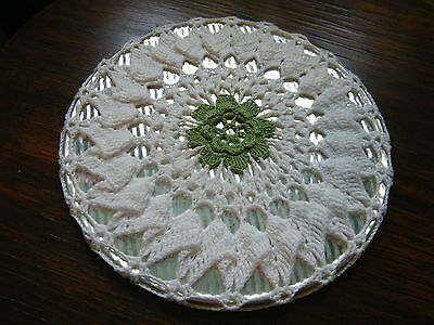 Collectible Handmade Crocheted Trivet & Cover White Green 9 Inch NICE