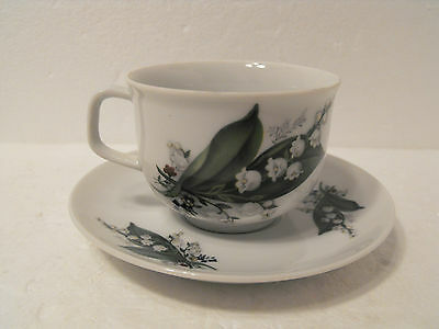 Wunsiedel Bavaria Germany Porzellan Demitasse Cup And Saucer Set Floral Bouquet