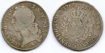 Tres Rare Monnaie Royale : Ecu Royal De Louis Xv En Argent De 1768  A @ Paris !!