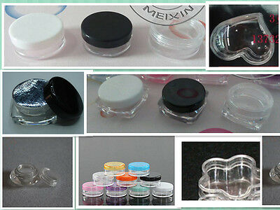 24 small cosmetic empty jar Pot sample container 0.1oz 3g various shapes colors