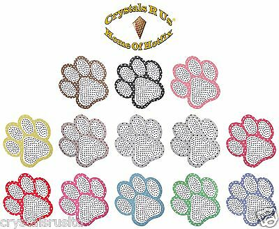 Polkadot Diamante Paw Dog Pet Iron-On Rhinestone Custom Novelty Transfer Patch