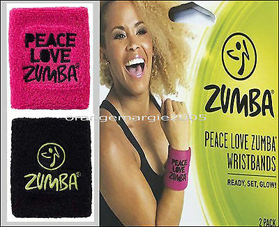 Zumba PEACE,LOVE Sweat WristBands Bracelets 2Pack ~2 colors Blk/ZGreen+Pink/Blk