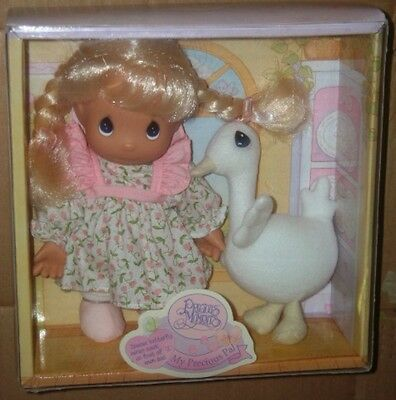 """1998 Precious Moments My Precious Pal Girl 7"""" tall Doll with goose mint in box"""