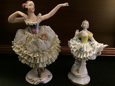 2-Antique Dresden Ballerina Dancing Ladys Both Beautiful With Fancy Dresses
