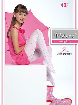 New Fiore Iza 40 Denier Patterned Young Lady Tights S,M, L