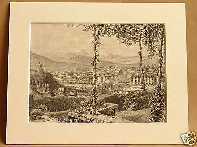 CHEDDAR GORGE CLIFFS RARE ANTIQUE MOUNTED ENGRAVING FROM c1890 PUBLICATION 10X8