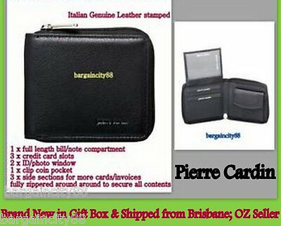 Pierre Cardin-RFID Blocking Genuine Italian Leather-Mens Zip Around Wallet Boxed