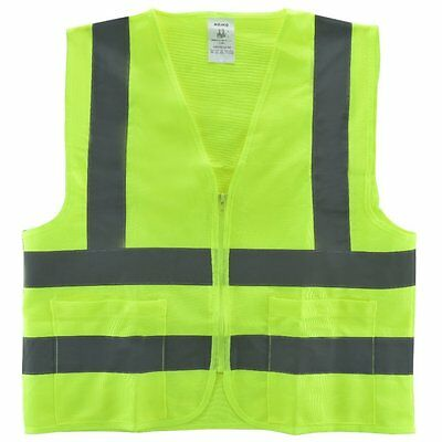 NEIKO 2 Pockets Neon Green Safety Vest with Reflective Strips ANSI/ISEA Large