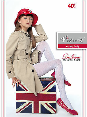 New Girls Fiore Balbina 40 Denier Young Lady Patterned Tights S,M,L White, Azure