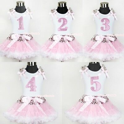 Pink Leopard Waist Pink White Pettiskirt Sparkle Birthday Number White Top set