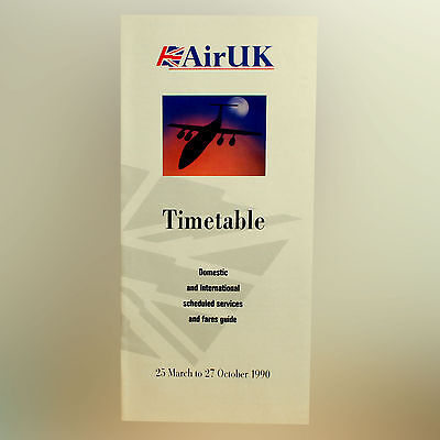Air UK Airlines - Airline Timetable - 25 March To 27 October 1990