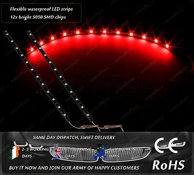 2x Red DRL Strips LED HID Stop Tail Lamps Rear Lights Interior Bulb Door 12v DC