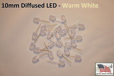 25x Warm White 10mm Round Top Diffused LED High Quality Light Lamp USA