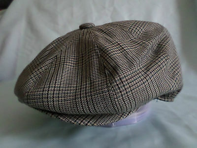 Mens Country Check 8-Panel Baker Boy Cap Newsboy Aka Paperboy Cabby Hat